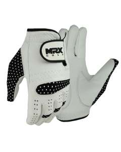 NEW WOMEN GOLF GLOVES CABRETTA LEATHER WHITE BLACK