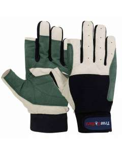 SAILING GLOVES CUT FINGER STYLE GREEN BLUE AMARA LEATHER GLOVE