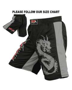 MRX MMA MEN'S FIGHT SHORTS PRO QUALITY GRAPPLING SHORT BLACK / GRAY