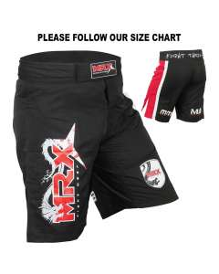 MRX Men's Mma Grappling Fight Shorts Mega Series Black Red 1108