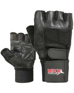 MRX Weight Lifting Gloves With Long Wrist Strap Genuine Leather Black All Sizes