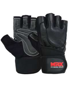 MRX Weight Lifting Gloves Long Wrist Straps Gym Training Leather Black All Sizes