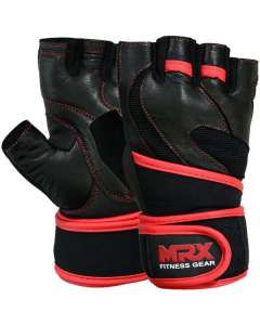 MRX Weight Lifting Leather Gloves With Long Wrist Strap Top Quality