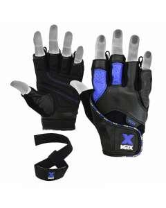 MRX Men's Weight Lifting Gloves With Bar Straps Leather Gym Glove