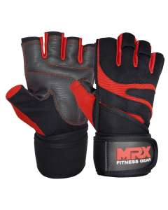 MRX Weightlifting Gloves Long Strap 2624-Red-M
