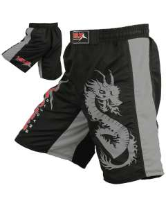 MRX Mma Men's Fight Shorts Pro Quality Grappling Short Black / Gray-s