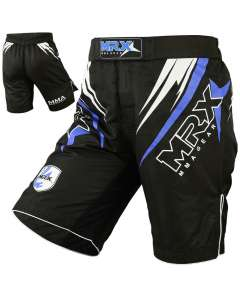 MRX Mma Grappling Fighting Shorts Black Blue Medium