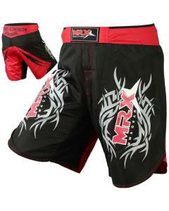 MRX Grappling Mma Fighting Shorts Black Red Medium