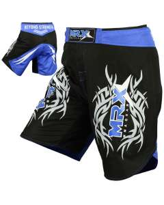 MRX Mma Shorts Fighting Shorts Black Blue Medium