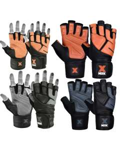 MRX MEN'S WEIGHT LIFTING PRO LEATHER GLOVES 18 INCHES LONG WRIST STRAP